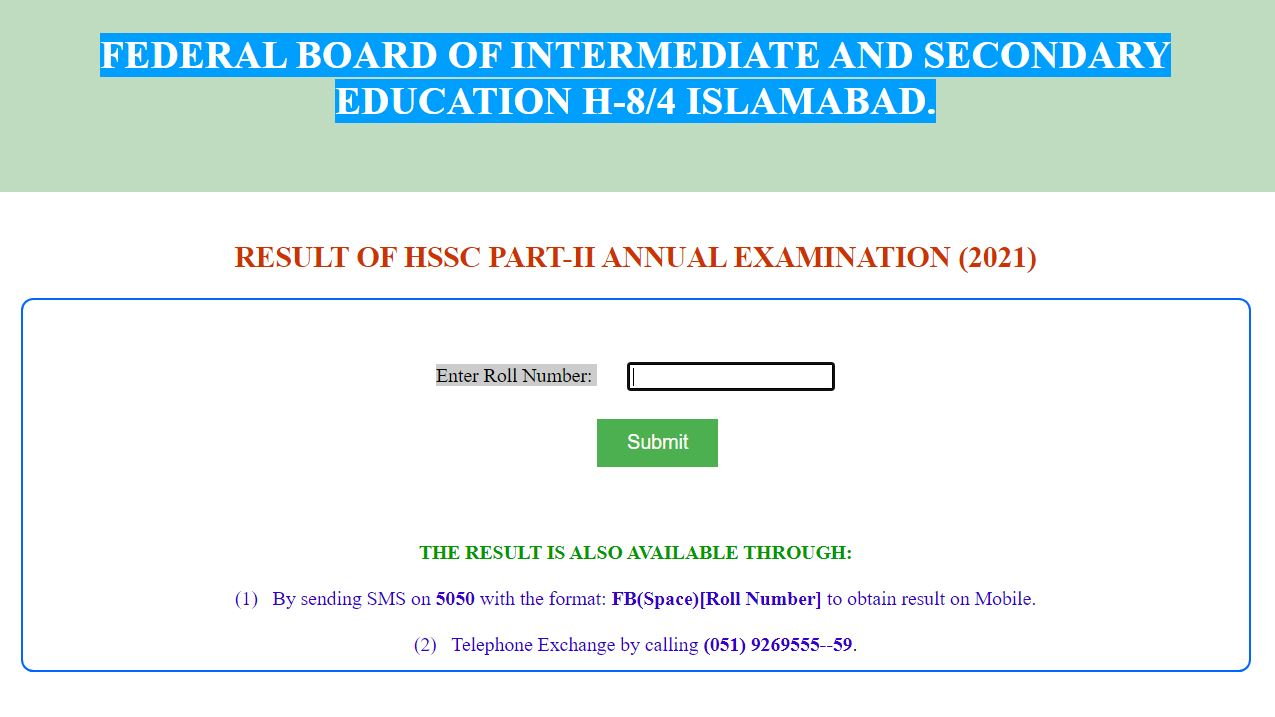 FBISE Federal Board Matric Class Result 2021 by Roll Number