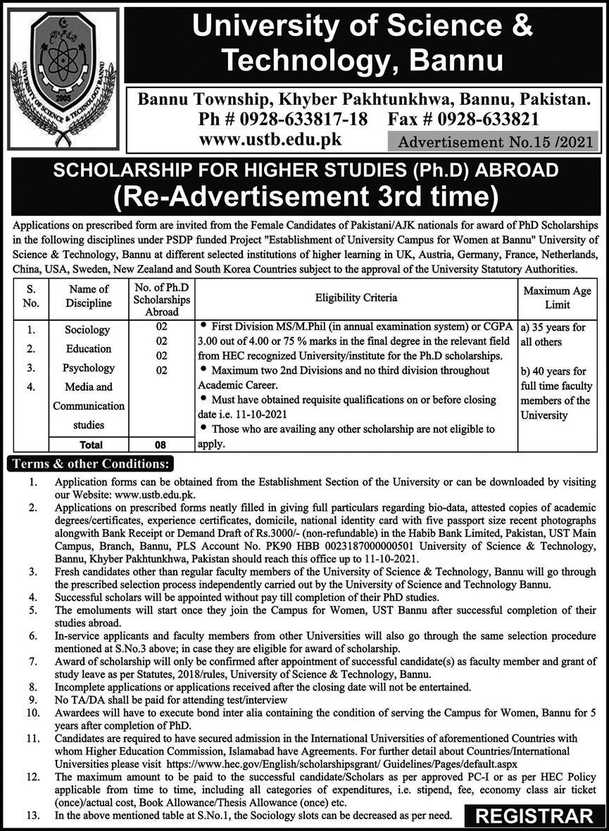 University of Science & Technology Bannu PhD Scholarships 2021