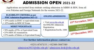RAWAL INSTITUTE OF HEALTH SCIENCES (RIHS) MBBS & BDS ADMISSION 2021-22